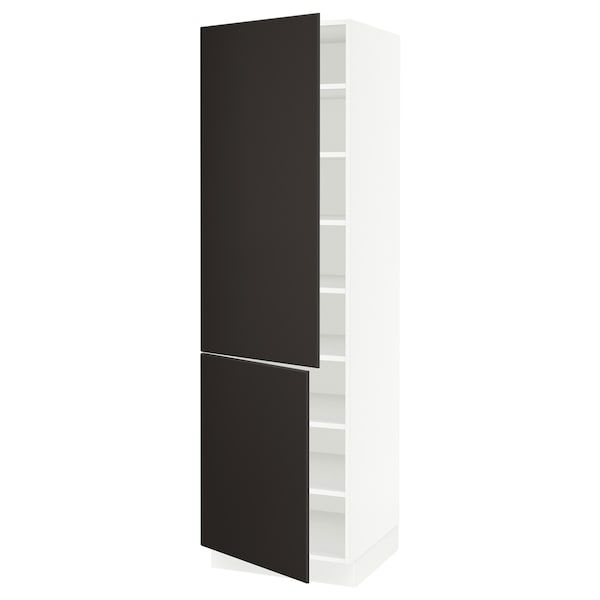 """SEKTION High cabinet with shelves/2 doors, white/Kungsbacka anthracite, 24x24x80 """""""