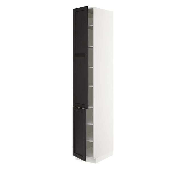 """SEKTION High cabinet with shelves/2 doors, white/Lerhyttan black stained, 15x24x90 """""""