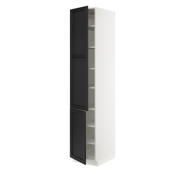"""SEKTION High cabinet with shelves/2 doors, white/Lerhyttan black stained, 18x24x90 """""""