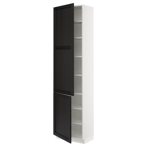 """SEKTION High cabinet with shelves/2 doors, white/Lerhyttan black stained, 24x15x90 """""""