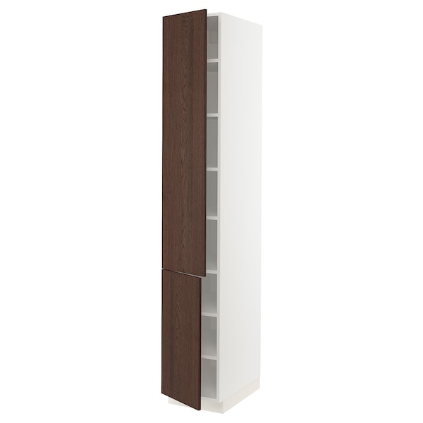 """SEKTION High cabinet with shelves/2 doors, white/Sinarp brown, 15x24x90 """""""