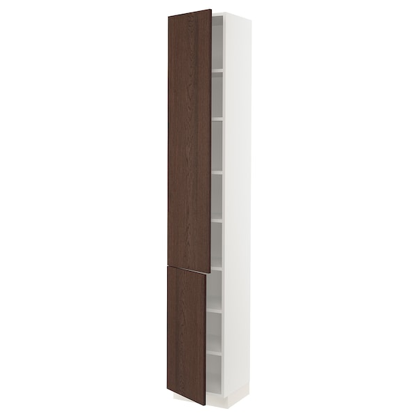 """SEKTION High cabinet with shelves/2 doors, white/Sinarp brown, 15x15x90 """""""