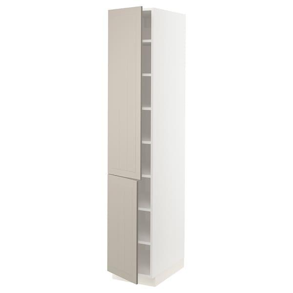 """SEKTION High cabinet with shelves/2 doors, white/Stensund beige, 15x24x80 """""""