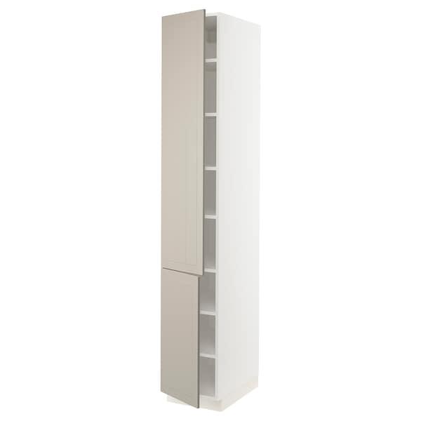 """SEKTION High cabinet with shelves/2 doors, white/Stensund beige, 15x24x90 """""""
