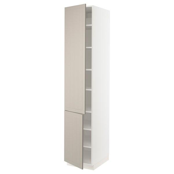 """SEKTION High cabinet with shelves/2 doors, white/Stensund beige, 18x24x90 """""""