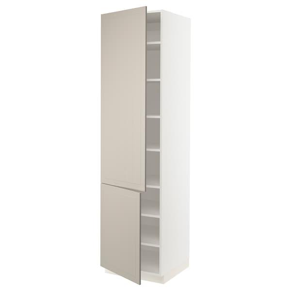 """SEKTION High cabinet with shelves/2 doors, white/Stensund beige, 24x24x90 """""""