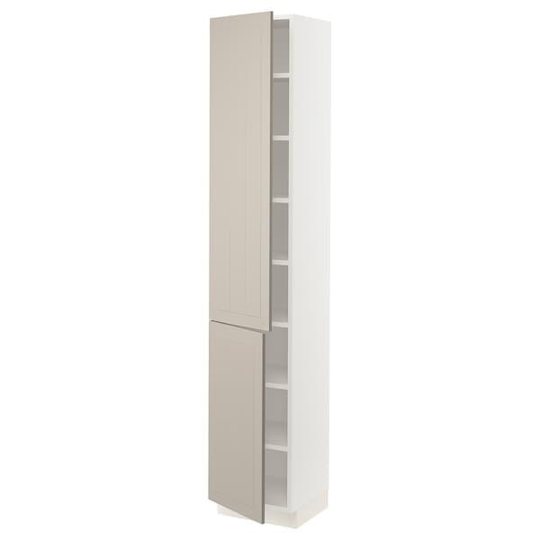 """SEKTION High cabinet with shelves/2 doors, white/Stensund beige, 15x15x80 """""""