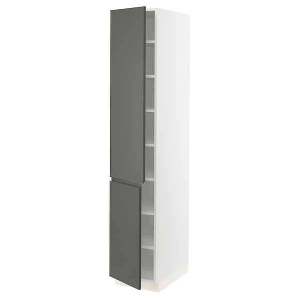 """SEKTION High cabinet with shelves/2 doors, white/Voxtorp dark gray, 15x24x80 """""""