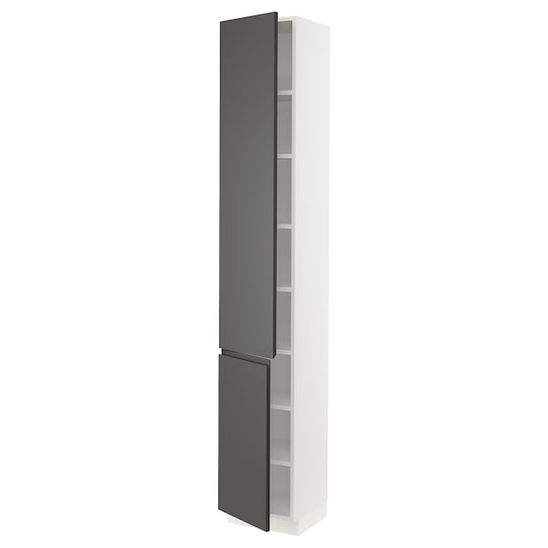 """SEKTION High cabinet with shelves/2 doors, white/Voxtorp dark gray, 15x15x90 """""""
