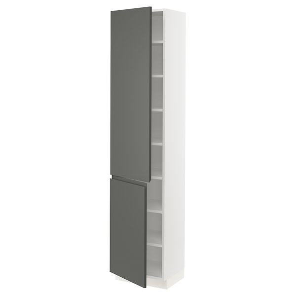 SEKTION High cabinet with shelves/2 doors, white/Voxtorp dark gray, 18x15x80 ""