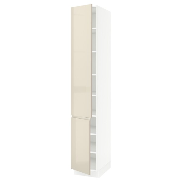 "SEKTION High cabinet with shelves/2 doors, white/Voxtorp high-gloss light beige, 15x24x90 """