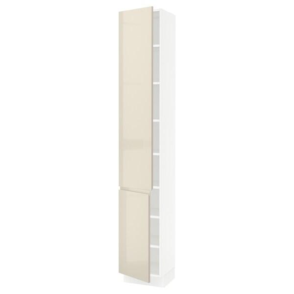 "SEKTION High cabinet with shelves/2 doors, white/Voxtorp high-gloss light beige, 15x15x90 """