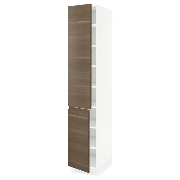 """SEKTION High cabinet with shelves/2 doors, white/Voxtorp walnut effect, 15x24x80 """""""
