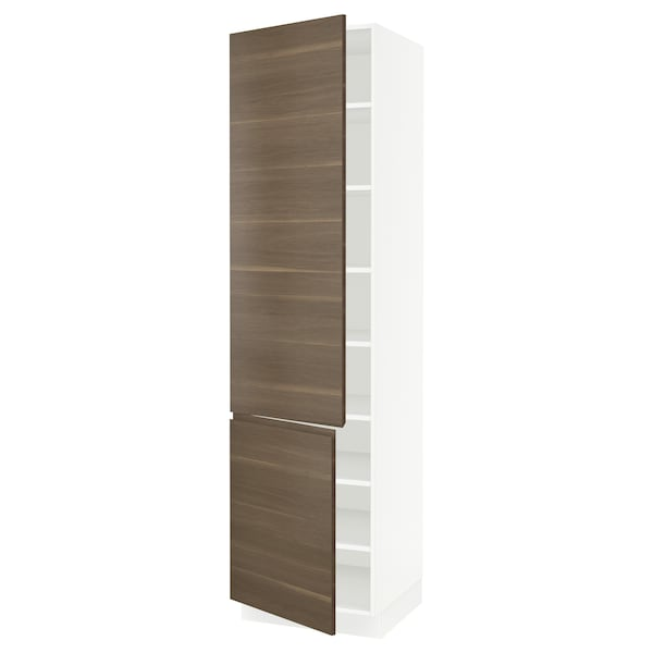 """SEKTION High cabinet with shelves/2 doors, white/Voxtorp walnut effect, 24x24x90 """""""