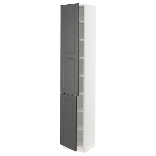 "SEKTION high cabinet with shelves & 2 doors white/Axstad dark gray 15 "" 15 "" 15 1/2 "" 80 """