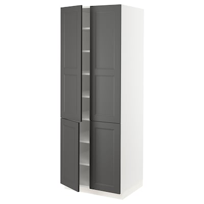 "SEKTION high cabinet with shelves & 4 doors white/Axstad dark gray 30 "" 24 "" 24 3/4 "" 80 """