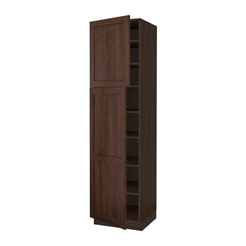 Sektion high cabinet with shelves 2 doors wood effect for Wood effect kitchen doors