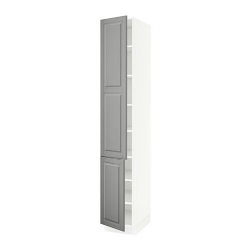 Sektion High Cabinet With Shelves 2 Doors White Bodbyn Gray