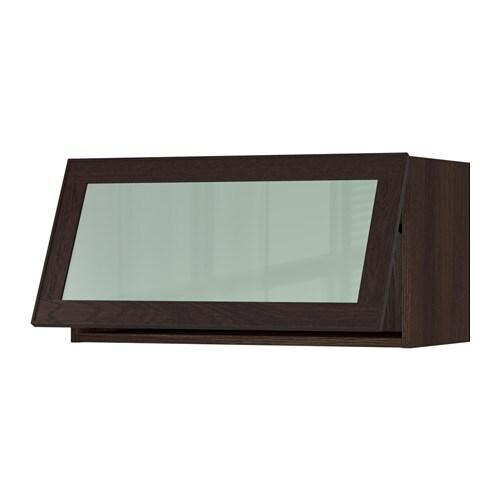 sektion horizontal wall cabinet glass door wood effect brown