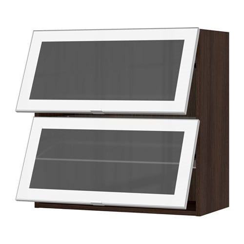 Ikea Horizontal Glass Cabinet ~ SEKTION Horizontal wall cabinet 2glass door  wood effect brown, Jutis