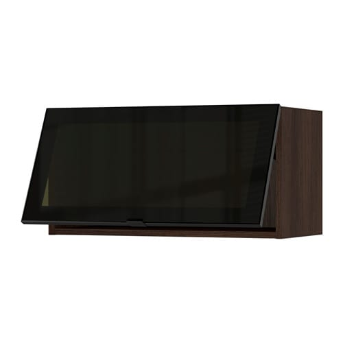 Ikea Horizontal Glass Cabinet ~ SEKTION Horizontal wall cabinet glass door  wood effect brown, Jutis