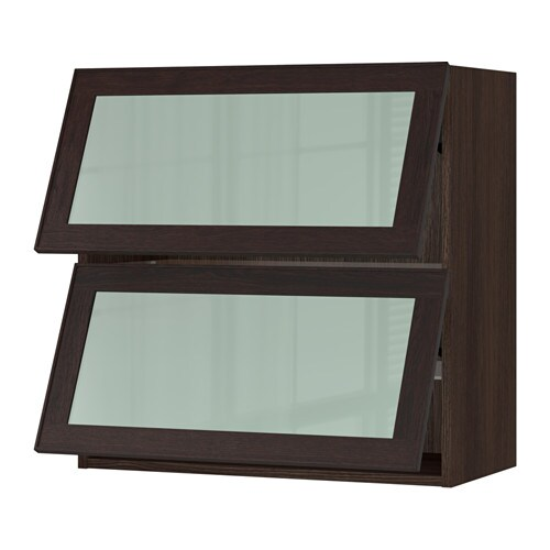 Sektion horizontal wall cabinet 2glass door wood effect for Ikea glass door wall cabinet