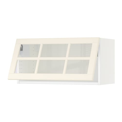 Glass Door Cabinet Ikea Kitchen ~   Horizontal wall cabinet glass door  white, Bodbyn off white  IKEA