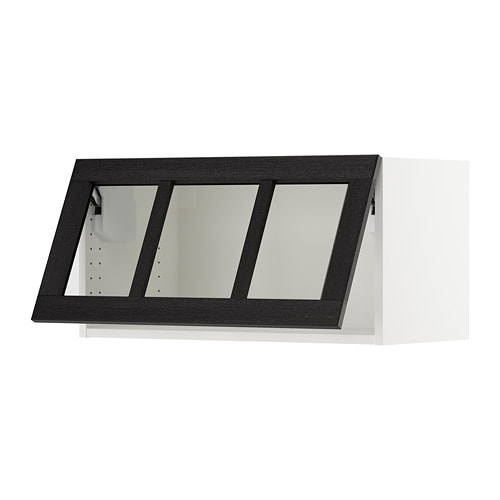 Sektion Horizontal Wall Cabinetglass Door Lerh Black Stained Ikea