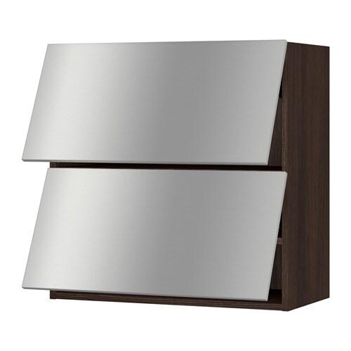 Sektion Horizontal Wall Cabinet W 2 Doors Wood Effect Brown Grevsta Stainless Steel 30x15x30