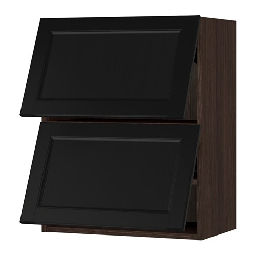 Sektion Horizontal Wall Cabinet W 2 Doors Wood Effect Brown Laxarby Black Brown 24x15x30