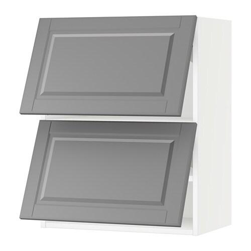 Sektion Horizontal Wall Cabinet W 2 Doors White Bodbyn Gray 24x15x30 Ikea
