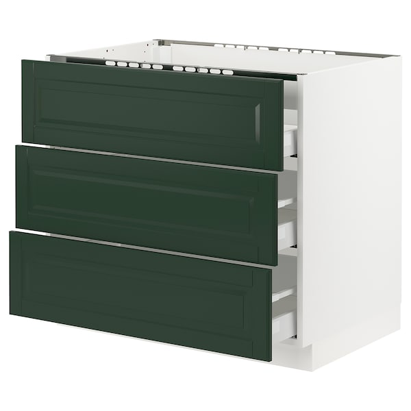 "SEKTION / MAXIMERA base cabinet f/cooktop w/3drawers white/Bodbyn dark green 36 "" 24 3/4 "" 34 1/2 "" 24 "" 30 """