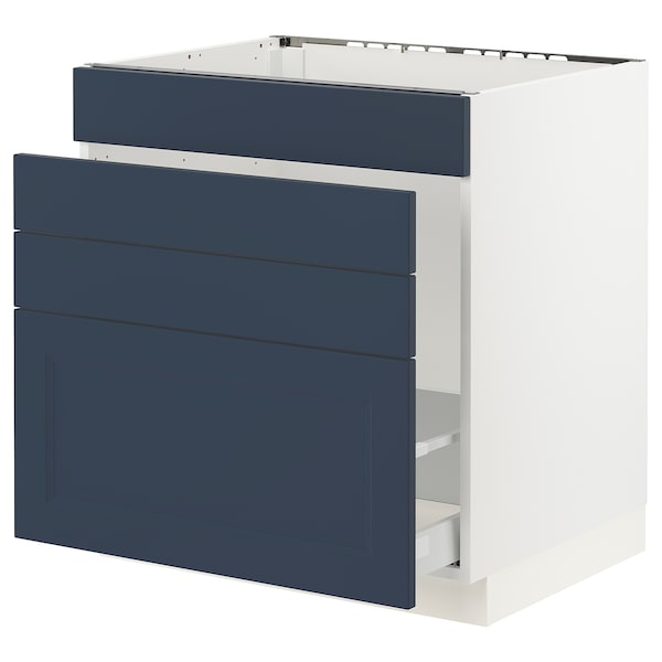 "SEKTION / MAXIMERA Base cab f sink/waste sort/4 fronts, white Axstad/matte blue, 30x24x30 """