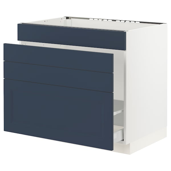 SEKTION / MAXIMERA Base cab f sink/waste sort/4 fronts, white Axstad/matte blue, 36x24x30 ""