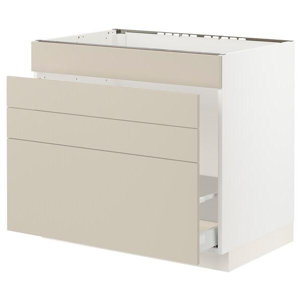 "SEKTION / MAXIMERA Base cab f sink/waste sort/4 fronts, white/Havstorp beige, 36x24x30 """