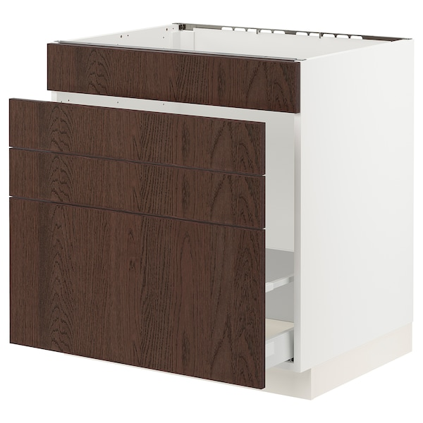 "SEKTION / MAXIMERA Base cab f sink/waste sort/4 fronts, white/Sinarp brown, 30x24x30 """