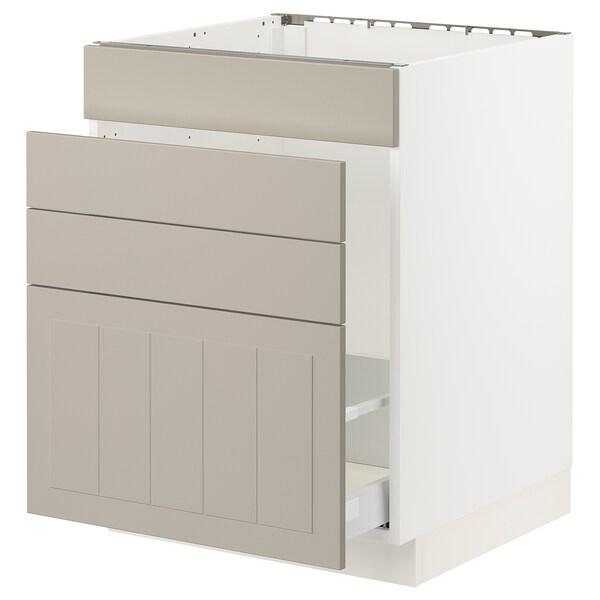 """SEKTION / MAXIMERA Base cab f sink/waste sort/4 fronts, white/Stensund beige, 24x24x30 """""""