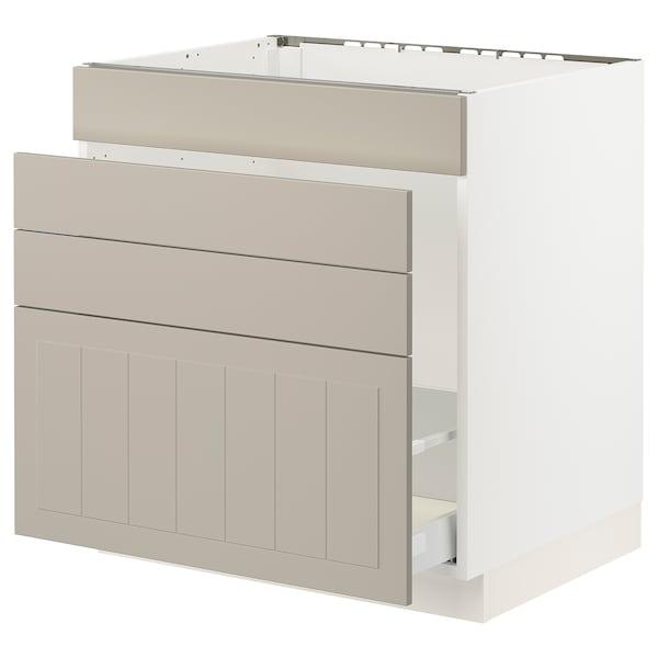 """SEKTION / MAXIMERA Base cab f sink/waste sort/4 fronts, white/Stensund beige, 30x24x30 """""""