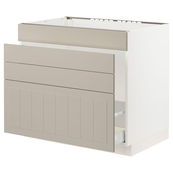 """SEKTION / MAXIMERA Base cab f sink/waste sort/4 fronts, white/Stensund beige, 36x24x30 """""""