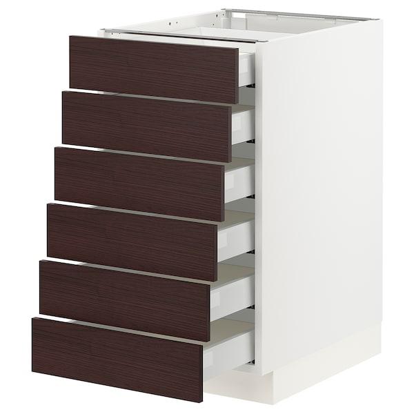 "SEKTION / MAXIMERA Base cabinet/6 fronts/6 low drawers, white Askersund/dark brown ash effect, 18x24x30 """