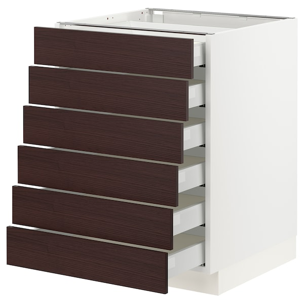 "SEKTION / MAXIMERA Base cabinet/6 fronts/6 low drawers, white Askersund/dark brown ash effect, 24x24x30 """