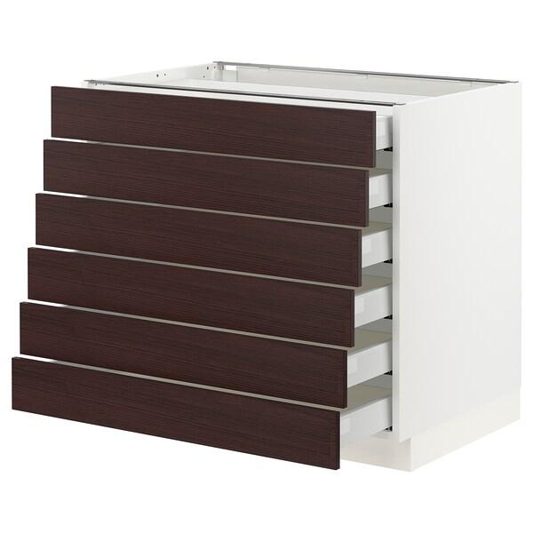 "SEKTION / MAXIMERA Base cabinet/6 fronts/6 low drawers, white Askersund/dark brown ash effect, 36x24x30 """