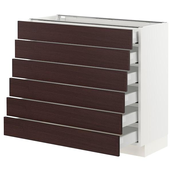 "SEKTION / MAXIMERA Base cabinet/6 fronts/6 low drawers, white Askersund/dark brown ash effect, 36x15x30 """