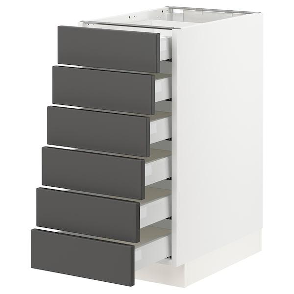 "SEKTION / MAXIMERA Base cabinet/6 fronts/6 low drawers, white/Axstad dark gray, 15x24x30 """
