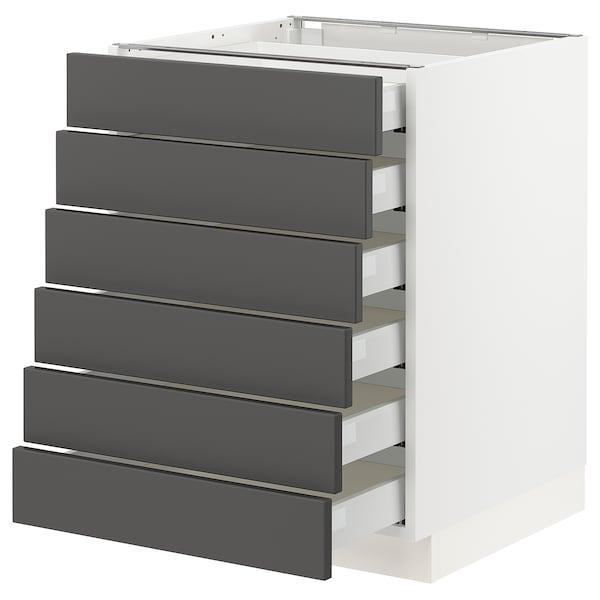 "SEKTION / MAXIMERA Base cabinet/6 fronts/6 low drawers, white/Axstad dark gray, 24x24x30 """