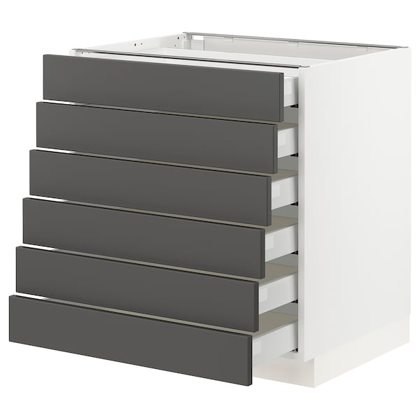"SEKTION / MAXIMERA Base cabinet/6 fronts/6 low drawers, white/Axstad dark gray, 30x24x30 """