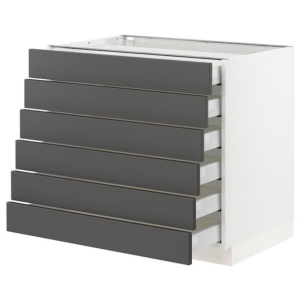 "SEKTION / MAXIMERA Base cabinet/6 fronts/6 low drawers, white/Axstad dark gray, 36x24x30 """