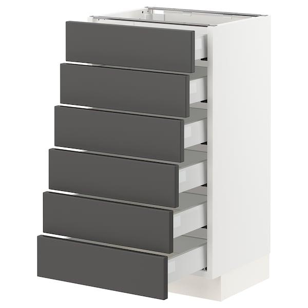 "SEKTION / MAXIMERA Base cabinet/6 fronts/6 low drawers, white/Axstad dark gray, 18x15x30 """
