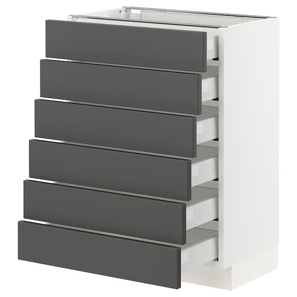 "SEKTION / MAXIMERA Base cabinet/6 fronts/6 low drawers, white/Axstad dark gray, 24x15x30 """