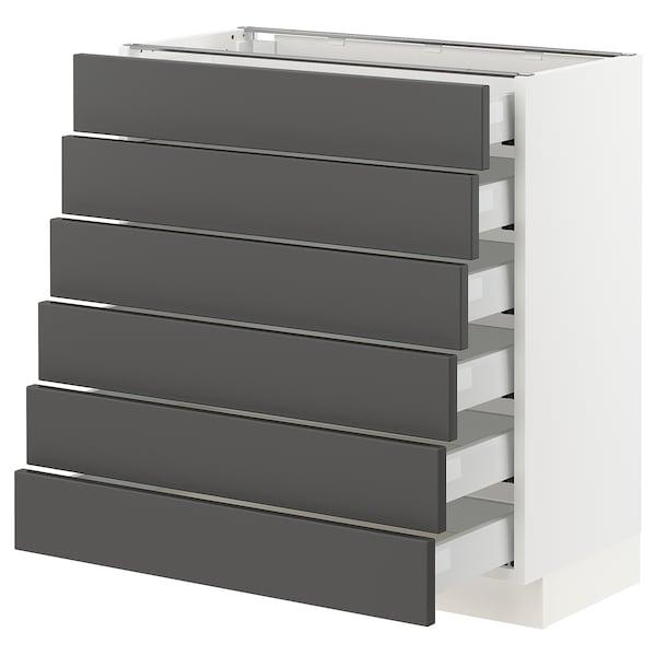 "SEKTION / MAXIMERA Base cabinet/6 fronts/6 low drawers, white/Axstad dark gray, 30x15x30 """